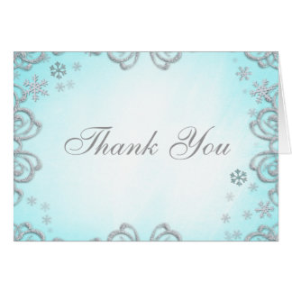 Winter Wonderland Swirl Snowflakes Thank You Card