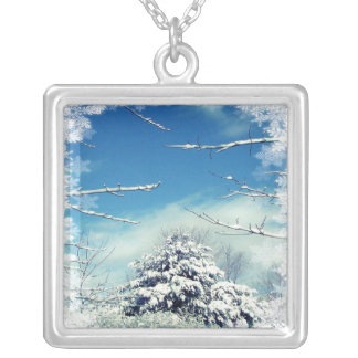 Winter Wonderland Tree after Snow Storm Silver Plated Necklace