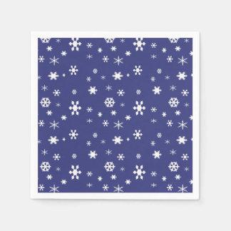 Winter Wonderland-White Snowflakes/Dark Blue Sky Paper Napkin