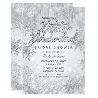 Winter Wonderland White Snowflakes Elegant Party Card