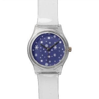 Winter Wonderland-White Snowflakes on Blue Watch
