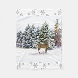 Winter Wonderland with Deer Fleece Blanket