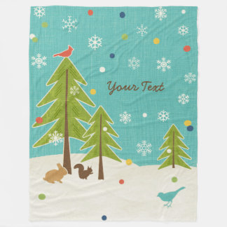 Winter Wonderland Woodland Scene personalized Fleece Blanket