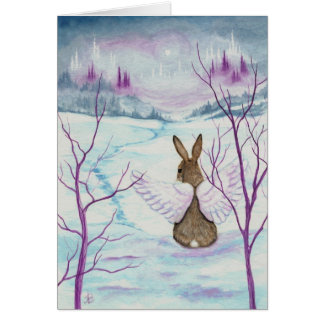 Winter Wonders Rabbit Angel Art by BiHrLe Card
