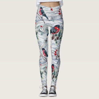Winter Woodgrain Birds Illustrated Leggings