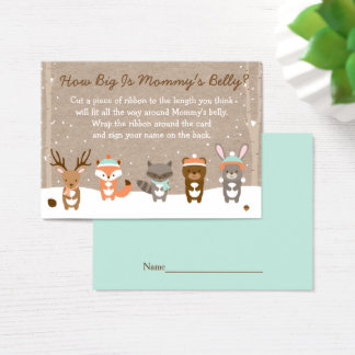 Winter Woodland Animal How Big Is Mommy's Belly Business Card