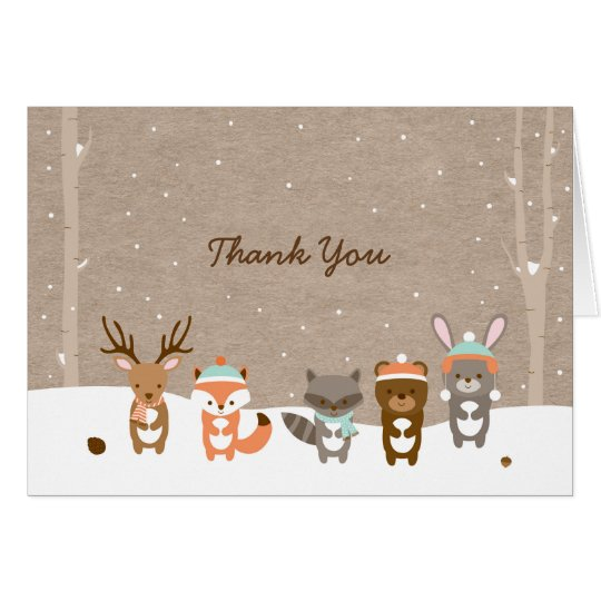 Winter Woodland Animal Thank You Card