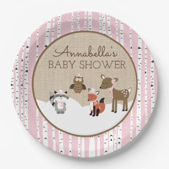 Winter Woodland Animals Plate   Pink 9 Inch Paper Plate