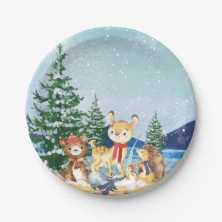 "Winter Woodland Baby Shower 7"" Plate"