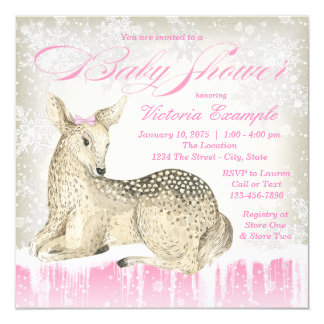 Winter Woodland Deer Baby Shower Invitations