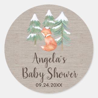 Winter Woodland Fox Baby Shower Classic Round Sticker