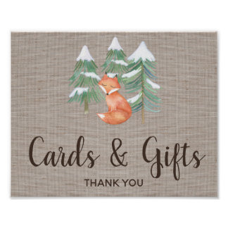 Winter Woodland Fox Cards and Gifts Sign