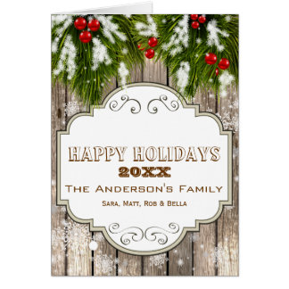 winter woodland pine berries, Holiday greetings Card