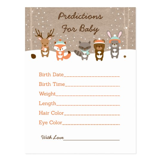 Winter Woodland Predictions For Baby Game Postcard