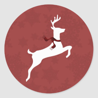 Winter Woodland Reindeer Red Holiday stickers