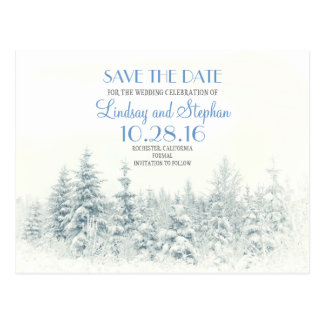 Winter woodland romantic white save the date postcard