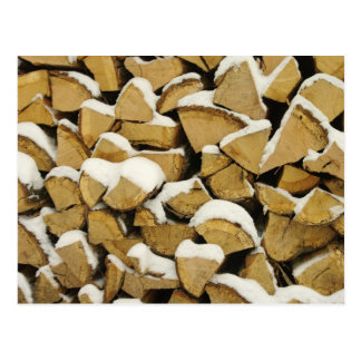 Winter Woodpile Postcard