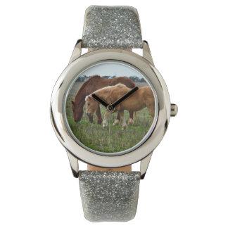 Winter_Woolly_Horses,_Girls_Silver_Glitter_Watch. Wrist Watch