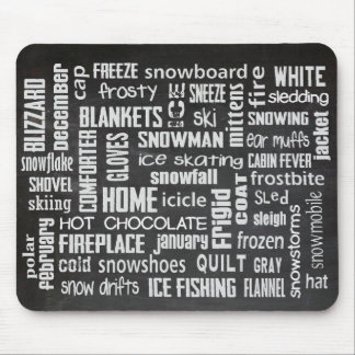 Winter Word Collage Mouse Pad