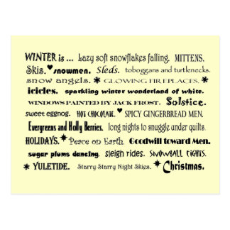 winter word collage postcard