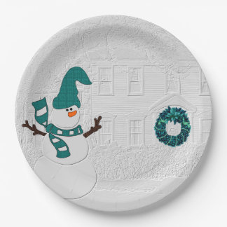 Winter Wreath in Teal with Snowman Holiday House Paper Plate