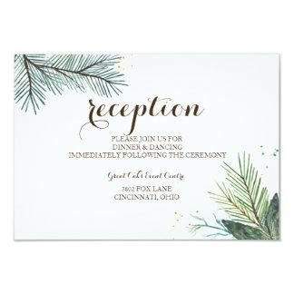 Winter Wreath Rustic Wedding Reception Card