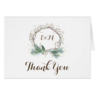 Winter Wreath Rustic Wedding Thank You Card