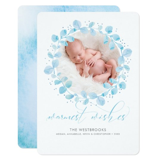 Winter Wreath Warmest Wishes Holiday Photo Card