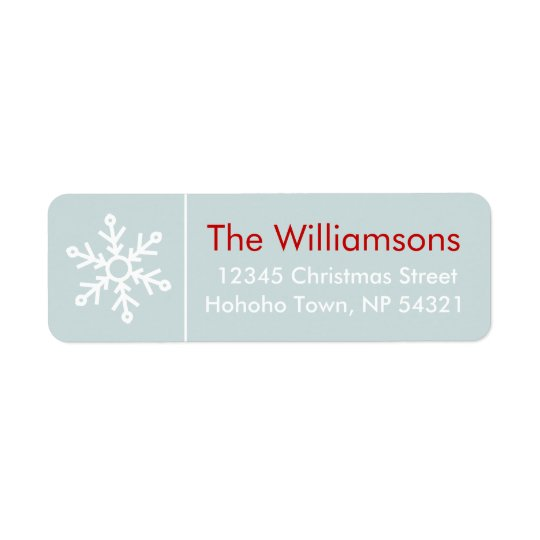 Winterberries Snowflake Coordinate on Icy Blue Return Address Label