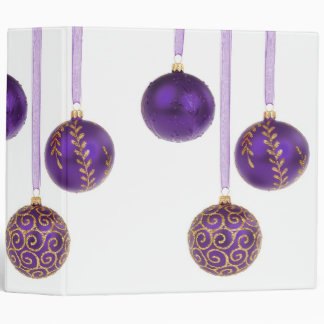 Winterberry Purple Christmas Ornaments 3 Ring Binders