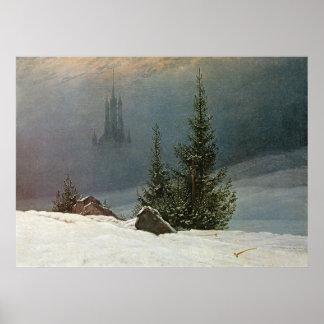 Winterlandschaft mit Kirche Poster