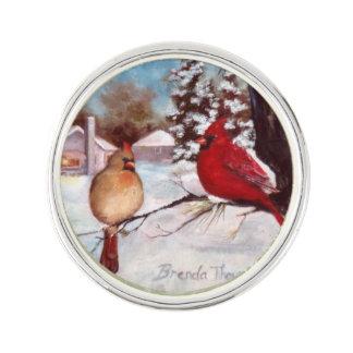 Winter's Serenity Cardinal Lapel Pin