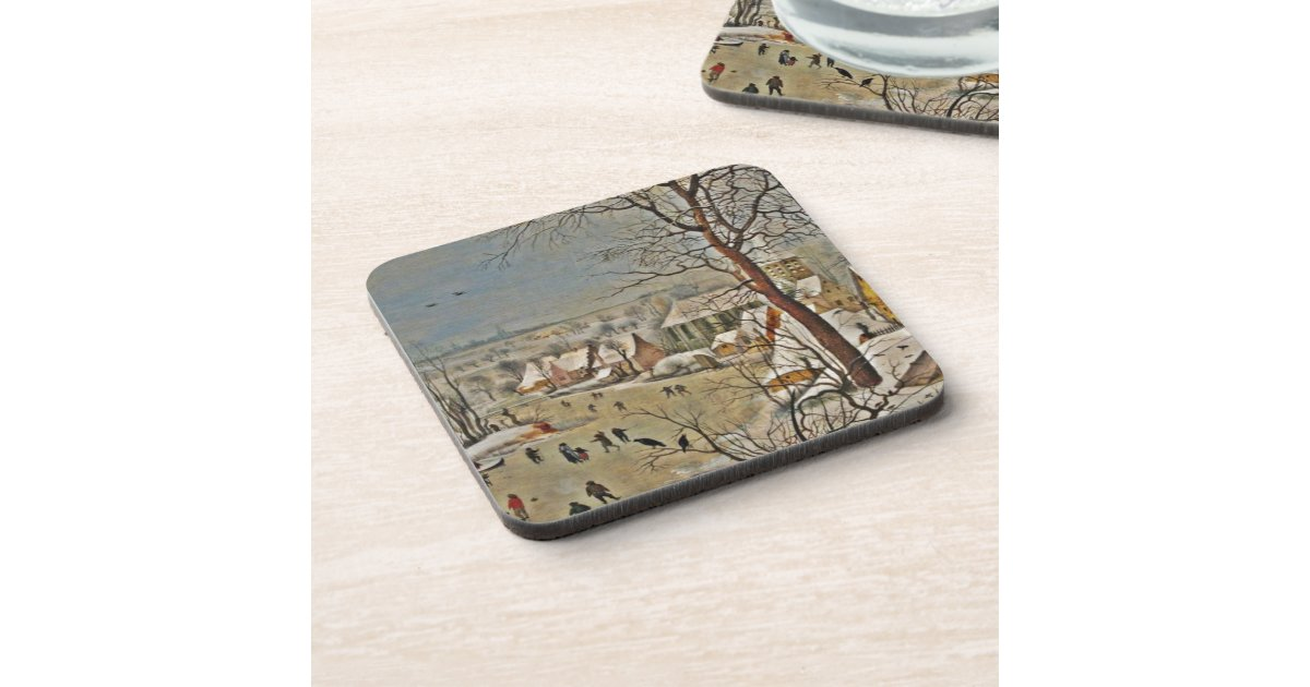 Winterscape On A Pond With Birds Coasters Zazzle