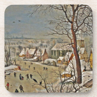 Winterscape  on a Pond with Birds Coasters