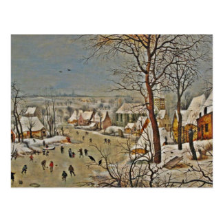Winterscape  on a Pond with Birds Postcard