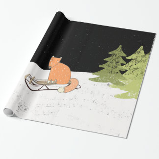 Wintertime- Sledding  Fox - Illustration