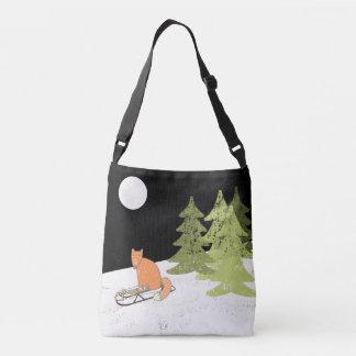 Wintertime- Sledding  Fox - Illustration Crossbody Bag