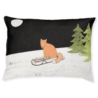 Wintertime- Sledding  Fox - Illustration Large Dog Bed
