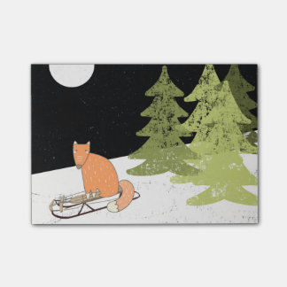 Wintertime- Sledding  Fox - Illustration Post-it® Notes