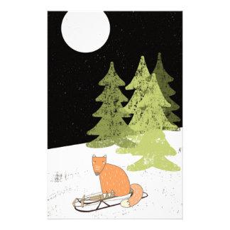 Wintertime- Sledding  Fox - Illustration Stationery