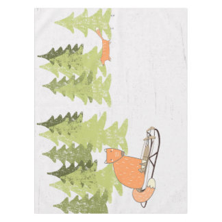 Wintertime- Sledding  Fox - Illustration Tablecloth