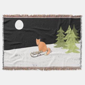 Wintertime- Sledding  Fox - Illustration Throw Blanket