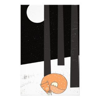 Wintertime- Sleeping Fox - Illustration Customized Stationery