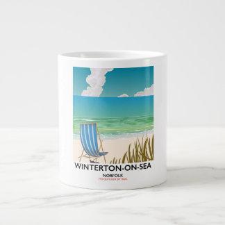Winterton-on-Sea Norfolk Beach travel poster Large Coffee Mug