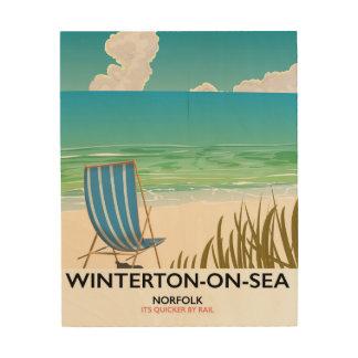 Winterton-on-Sea Norfolk Beach travel poster Wood Prints