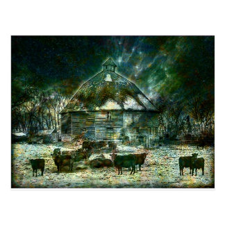 WINTERY ~ AT 10 SIDED BARN.jpg Postcard