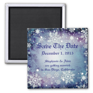 Wintery Blue Save The Date Magnet