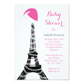 Wintery Eiffel Tower Baby Shower Invitation