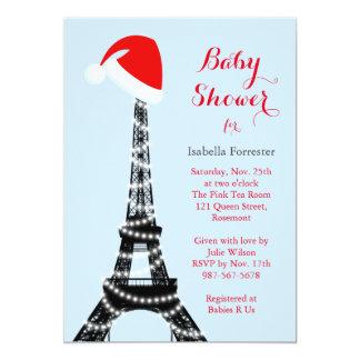 Wintery Eiffel Tower Baby Shower Invitation - blue