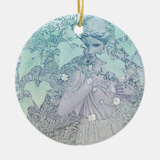 Wintery Goddess Ceramic Ornament